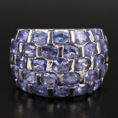 Sterling Tanzanite Domed Cluster Ring