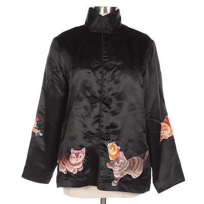 Cat Embroidered Black Satin Mandarin Collar Jacket