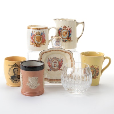 Ceramic and Crystal British Royal Family Commemorative Drinkware, Vase and More