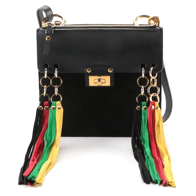 Chloé Jane Crossbody Bag in Black Suede and Leather