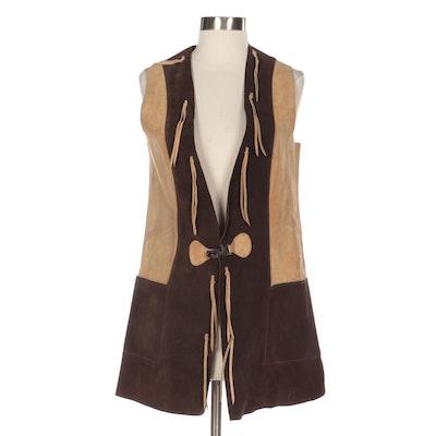 Excelsior Suede Color Block Long Vest