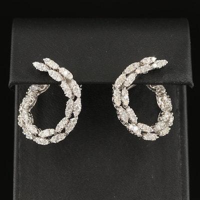 14K 2.94 CTW Diamond Hoop Earrings