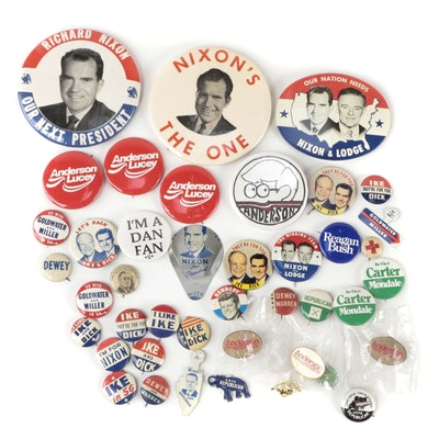 Nixon, Lodge, Ike, Carter, Reagan, and Other Political Campaign Pinback Buttons