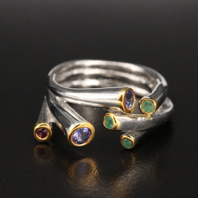 Sterling Tanzanite, Garnet and Emerald Bypass Ring