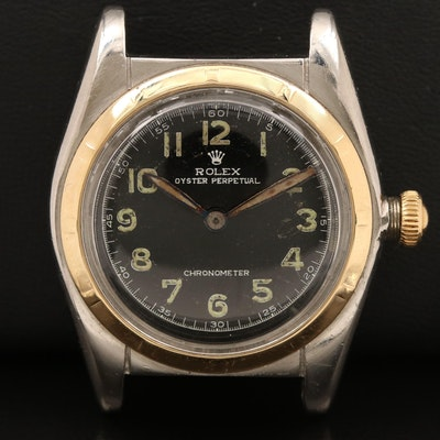 Rolex Vintage Oyster Perpetual Bubble Back 14K and Stainless Steel Wristwatch