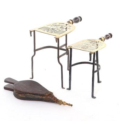 Georgian Pierced Brass and Iron Kettle Trivets with Wooden Bellows