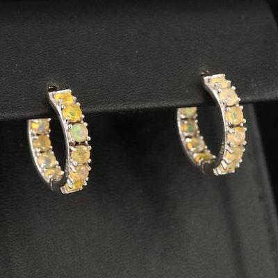 Sterling Opal Inside-Out Hoop Earrings