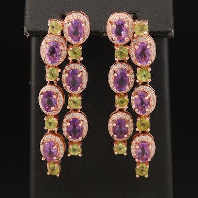 Sterling Amethyst, Peridot and Cubic Zirconia Earrings
