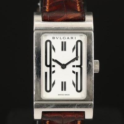 Swiss BVLGARI Rettangolo Stainless Steel Wristwatch