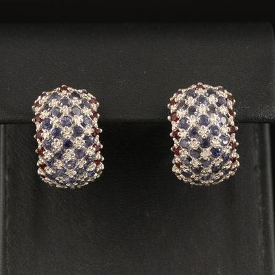 Sterling Iolite, Rhodolite Garnet and Amethyst Hoop Earrings