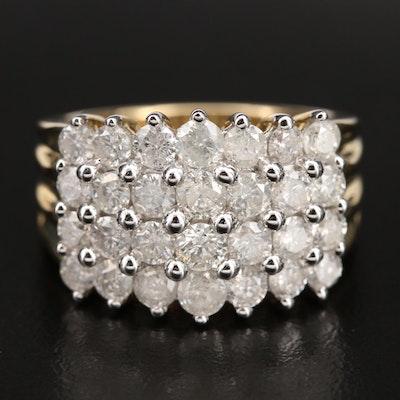 14K 3.00 CTW Diamond Cluster Ring