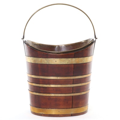Mahogany Navette Form Brass Banded Peat Bucket with Liner, Early 19th Century