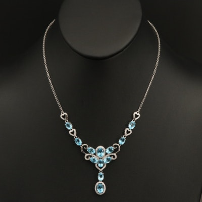 Sterling Swiss Blue Topaz and Cubic Zirconia Drop Necklace