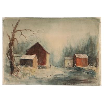 James Ashcroft Winter Landscape Watercolor Painting, 1962
