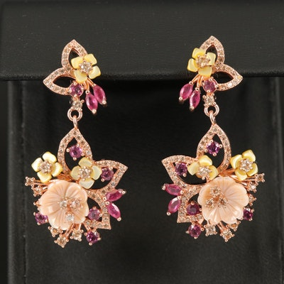 Sterling Giardinetti Drop Earrings with Mother of Pearl and Garnet