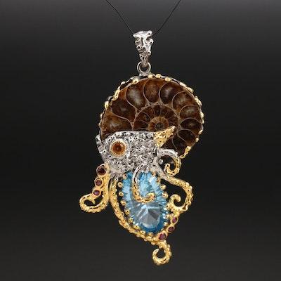 Sterling Biomorphic Pendant Including Ammonite, Swiss Blue Topaz and Garnet