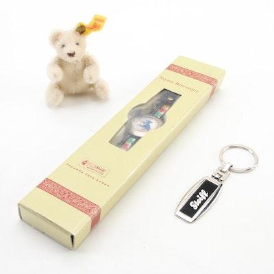 Steiff Keychain, Bear Motif Watch and Miniature Stuffed Bear