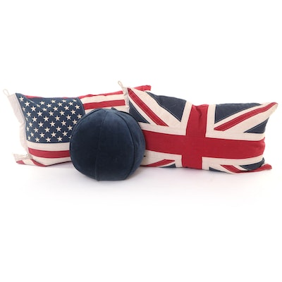 """Union Jack, American Flag and Crate & Barrel Velvet """"Sphere"""" Accent Pillows"""