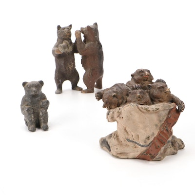 Grizzly Bear Brass Figurines and Painted Brass Inkwell, Antique