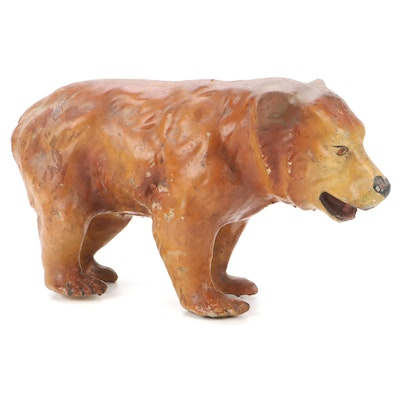 Hand-Painted Composite Bear Figurine, Late 19th/ Early 20th Century