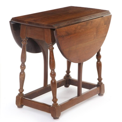English Style Drop-Leaf Side Table with Turned Legs