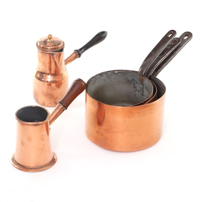 Dovetailed Tin-Lined Copper Graduated Pans with Wood Handled Coffee Pots