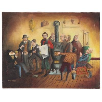 Merle D. Graves Interior Genre Scene Oil Painting, 1953
