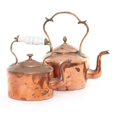 English Dovetailed Copper and Brass Tea Kettles