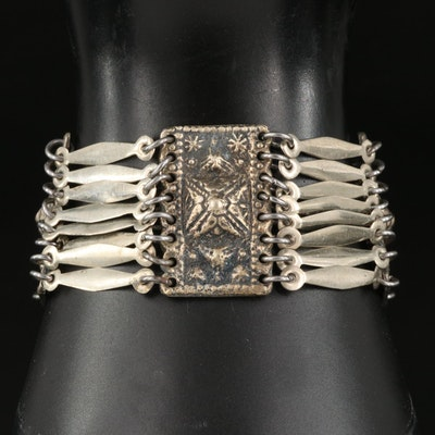 Mexican Sterling Panel and Multi-Bar Bracelet