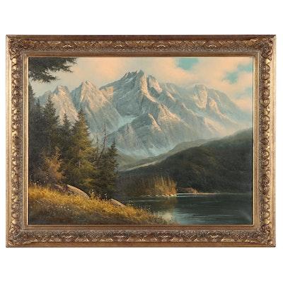 Ludwig Munninger Alpine Landscape Oil Painting