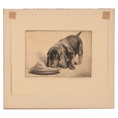 Morgan Dennis Etching of Puppy, Mid-20th Century