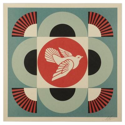"Shepard Fairey Offset Lithograph ""Geometric Dove (Blue),"" 2021"