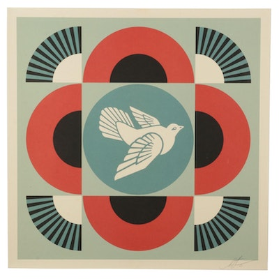 """Shepard Fairey Offset Lithograph """"Geometric Dove (Red),"""" 2021"""