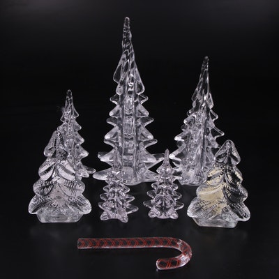 Silvestri Crystal Christmas Tree Figurines with Candle Holders and Candy Cane