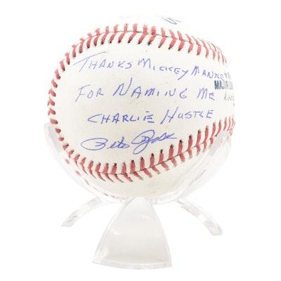 "Pete Rose Signed ""Thanks Mickey Mantle For Naming Me Charlie Hustle"" Baseball"