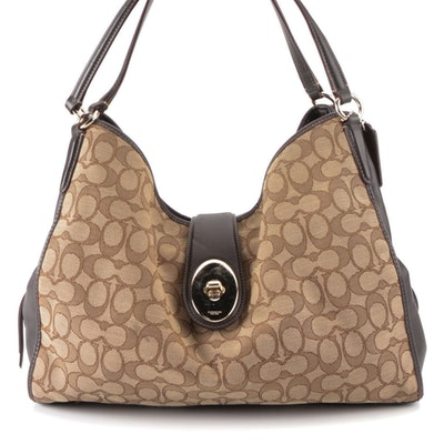 Coach Carlyle Bag in Monogram with Brown Leather