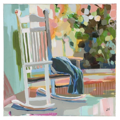 Jenny Westenhofer Porch Scene With Rocking Chair Oil Painting
