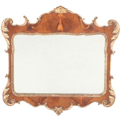 George II Style Yew Wood and Parcel-Gilt Mirror, 20th Century