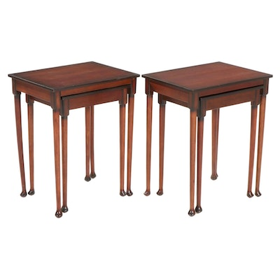 Two Sets of Bombay Company Mahogany-Stained Nesting Tables