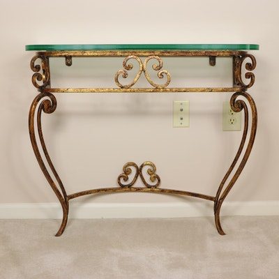 Gilt Finish Wrought Metal Hall Table with Glass Top