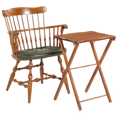 Nichols & Stone Fan Back Windsor Style Armchair with Wooden Folding Table