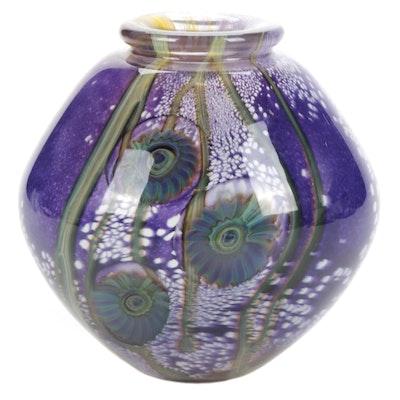 Robert Eickholt Iridescent Handblown Art Glass Vase, 2009