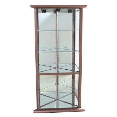 Design Institute of America Patinated Metal and Mirror-Back Corner Cabinet