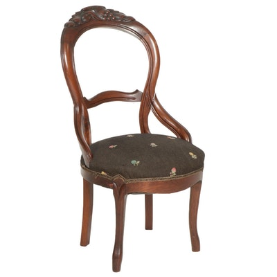 Rococo Revival Walnut Parlor Chair with Embroidered Upholstery, Early 20th C.