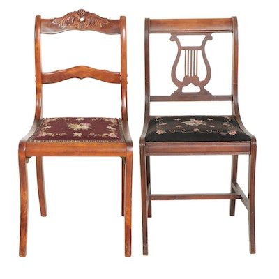 Two Federal Style Needlepoint Upholstered Walnut Chairs, Early to Mid 20th C.
