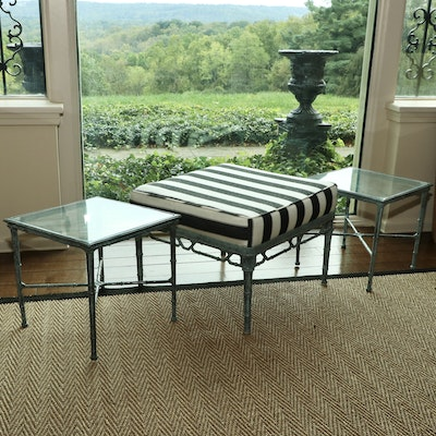 """Brown Jordan """"Calcutta"""" Faux Bamboo Ottoman and Two End Tables"""