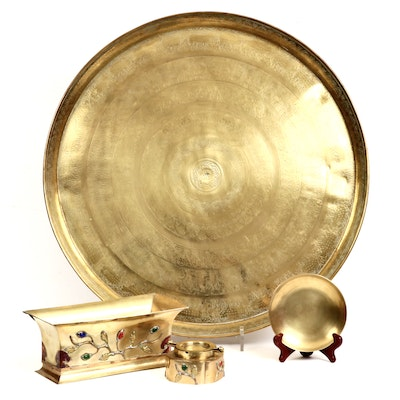 Asian Brass Table Accessories and Engraved Brass Wall Tray