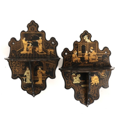 Japanese Parcel-Gilt and Lacquered Wood Folding Wall Shelves