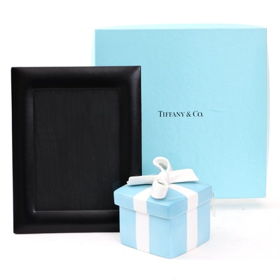Tiffany & Co. Blue Porcelain Trinket Gift Box and Black Leather Picture Frame