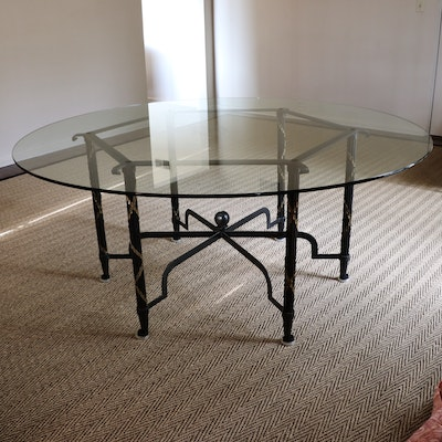 French Neoclassical Style Custom Iron, Gilt Metal and Glass Round Dining Table
